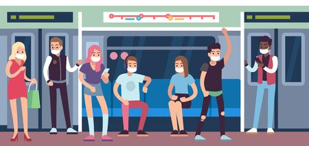 People in masks in subway. Underground mass transit with men and women. Metro wagon, coronavirus covid-19 healthcare vector medical protection concept