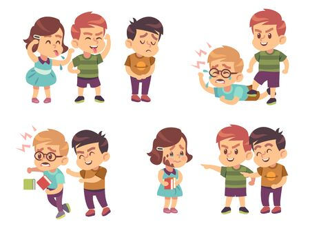 Kids bullying. Verbal and physical social conflict between children, battle abuse, quarrel and mocking classmate cartoon vector bulling characters