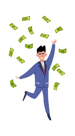 Rich man. Happy young success businessman or millionair character under finance rain vector money concept