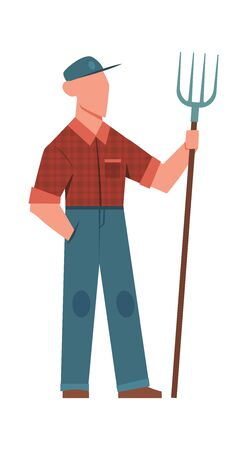 Man and pitchfork. Agricultural farm worker with gardening tool countryside isolated vector gardener Illusztráció