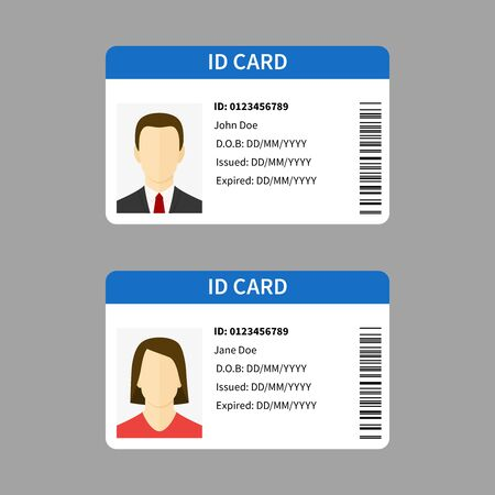 Plastic id cards. Personal registration form card, car driver license with male and female photo, identity document template isolated vector set