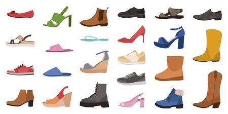 Des chaussures. Différents types de chaussures pour hommes, femmes et enfants, tendance décontractée, élégante glamour élégante et chaussures formelles dessin animé vecteur vue latérale ensemble