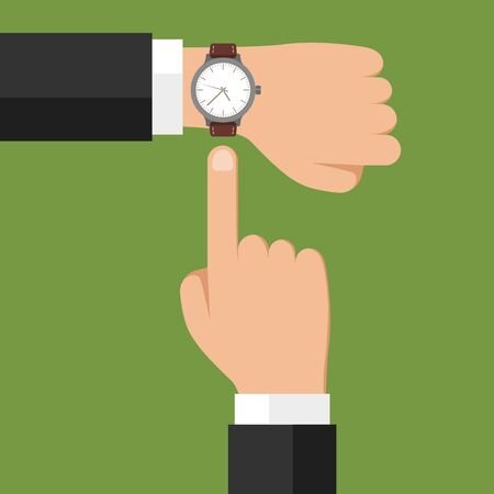 Wristwatch on hand. Businessman showing time on his watch, checking time or symbol of deadline. Minimize work, time is money vector concept