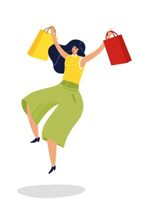 Jumping woman. Happy excited successful woman with shopping bags in supermarket isolated vector illustration