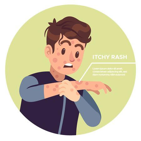 Man scratching arms. Allergic inflammation, irritation itchy, scratched eczema, allergy skin strong pain healthcare rash problems vector concept
