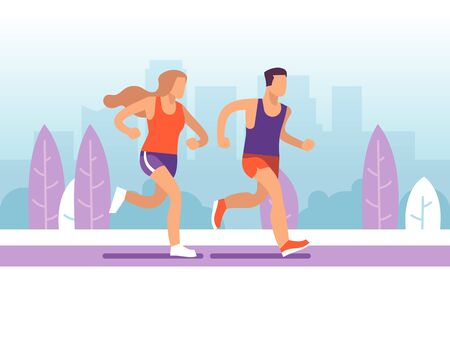 Running couple. Man and woman jogging in park, morning active training marathon, healthy lifestyle motivational cartoon vector athletes concept