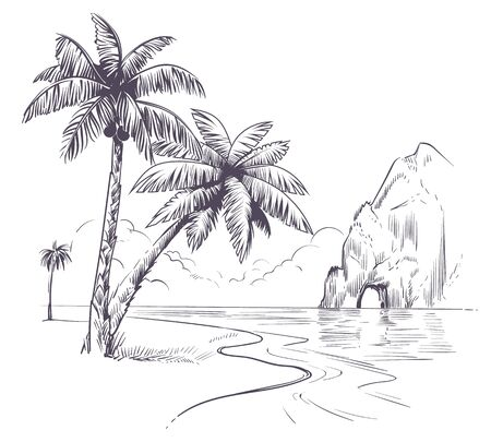 Palm tree landscape. Sketch tropical palms ocean coast, exotic island hawaii natura summer vacation poster hand drawn vector pencil background