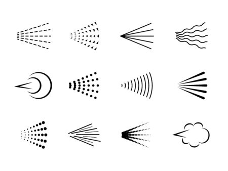Spray. Hairspray aerosol haze, scatter gas or deodorant cloud. Water paint spray, sprayer steam silhouette, air nozzle shower isolated vector icons