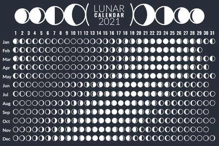 Moon calendar. Lunar phases calendar 2021 poster design, monthly cycle planner, astrology moon card, astronomy grid diary vector moonlight template 向量圖像