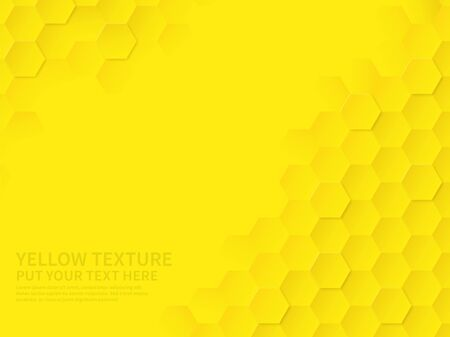 Hex texture. Yellow honeycomb geometric pattern, abstract chemistry technology science hexagonal modern paper cut origami vector textured wallpaper