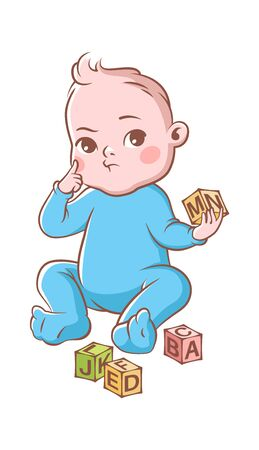Baby boy playing with cubes. Funny happy cute toddler in blue costume and blocks, vector cartoon kid character