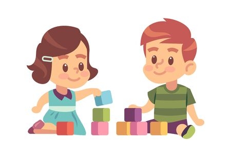 Boy and girl play cubes. Friendly children building from blocks on floor together, vector kids characters education concept