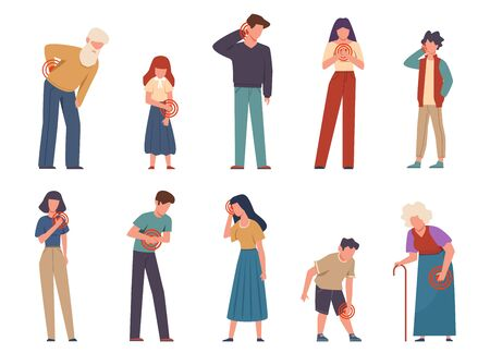 People with pain. Men and women suffering pain different body parts, headache and sore shoulder, throat and injury knee vector isolated characters