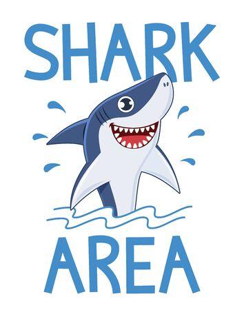 Shark area poster. Warning attack sharks, ocean diving and sea surf, slogan for t shirt water print design or banner cartoon vector illustration Vektoros illusztráció