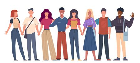 International friends. Multiethnic social unity young people standing together, diversity multicultural community. Vector globalization concept Vettoriali