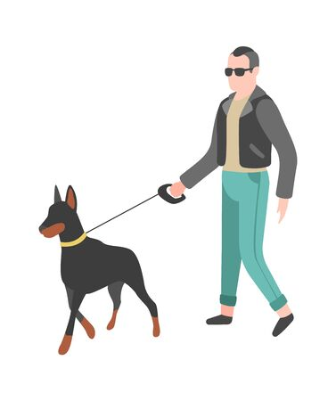 Man walking dog. Happy person walks and plays his pet, flat vector simple character 向量圖像
