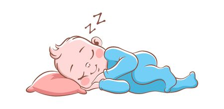 Baby boy sleeping. Cute happy newborn in blue pajamas, isolated cartoon vector child on soft pillow