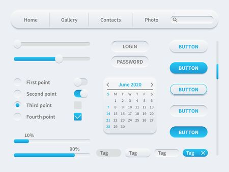 Weiße Elemente der Benutzeroberfläche. Universelle UI-Vorlage für mobile Anwendungen und Websites. Tools, Schaltflächen und Responsive Design Vektor einfaches Set Vektorgrafik