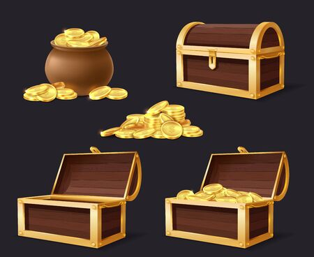 Chest with golden coins. Chest, bag and stack with gold, closed and opened empty chests for games applications cartoon isolated vector set
