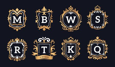 Monogram logos. Luxury calligraphic elegant gold identity ornament for restaurant, hotel brand and jewelry floral boutique vector template