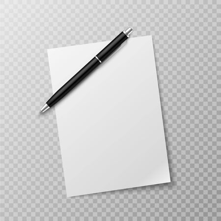Pen and paper sheet. Blank white paper sheet and ballpoint pen top view mockup. Write message, letter or note realistic vector paperwork template