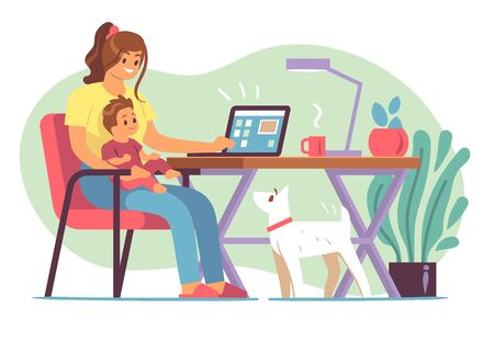 Mother freelancer. Young mother raising child and working home on laptop in distant office, remote work self employed flat vector freelance workplace concept
