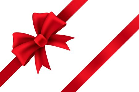 Red satin gift bow. Package of holiday present vector realistic ribbon decoration