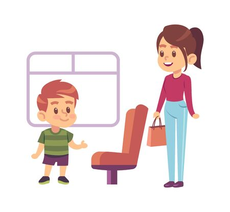 Kids good manners. Courteous polite boy gives way on transport seat for woman vector concept Ilustração