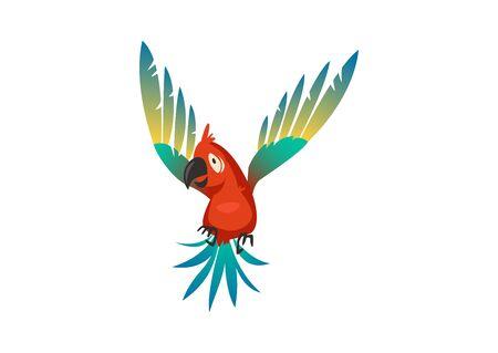 Cute parrot. Colorful beautiful jungle cartoon bird, isolated vector wildlife trendy exotic print Stock Illustratie