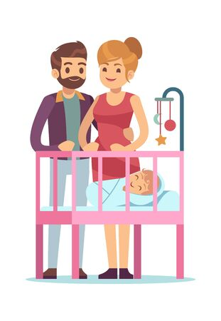 Happy parents with baby. Family young couple cuddling and newborn in cradle, vector cartoon characters