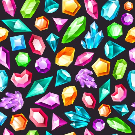 Gem seamless pattern. Gemstones amethyst, topaz and quartz. Diamonds and ruby, sapphire, crystal and emerald, jewels vector colorful texture
