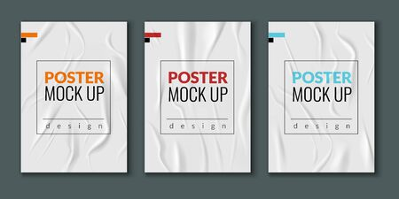 Wrinkled wet posters. Realistic wet creased paper sheets with text. Advertising column glued leaflet vector mockup set outdoors