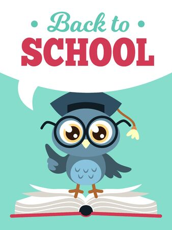 Back to school owl. Wise owl in graduate cap with books, learning education kids colored school card, cartoon vector decorative poster