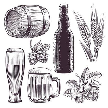 Hand drawn beer. Mug, barrel and beer glass and bottle, wheat or malt ears, hops. Vintage engraving sketch isolated vector brewing set Ilustração Vetorial