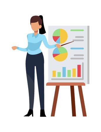 Businesswoman giving presentation. Female office employee or teacher showing project, isolated modern vector character