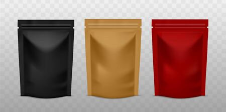 Plastic sachet pouch. Coffee zip package golden, black and red color, foil standing bag advertising presentation realistic vector product mockups