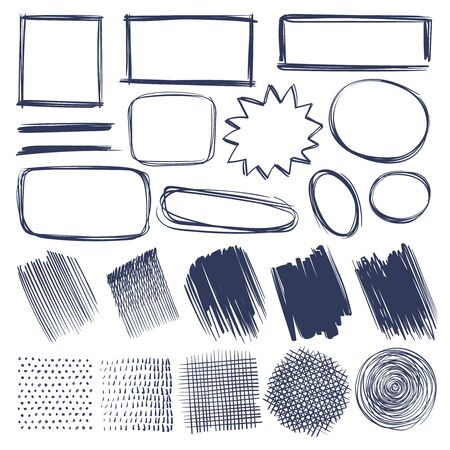 Sketch shapes. Hand drawn monochrome geometric elements frames, strokes and shade, hatched round and square shapes or line isolated crosshatch vector set