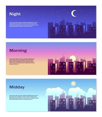 Different Time of Day Banners. Good morning, good afternoon, good night vector illustration of city urban landscape set with skyscrapers