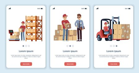 Warehouse for mobile app. Logistic theme transportation and forklift, truck delivery loader with boxes, isolated vector flat template websites set Ilustracja