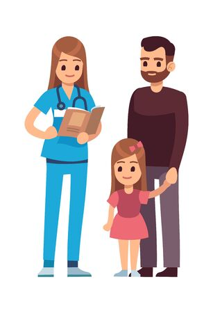 Doctor and patients. Female doctor pediatrician with stethoscope and patient child girl and her father standing. Hospital, clinic medicine consult healthcare concept