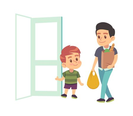 Kids good manners. Vector boy helping adult. Polite kid with good manners opening the door to man with packages. Children etiquette concept. cartoon flat vector illustration