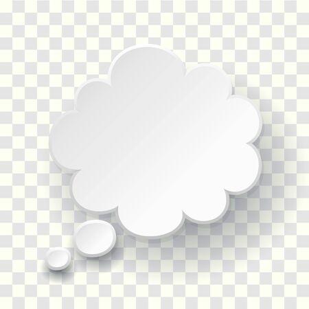 Symbol für Textblase gedacht. Leere leere weiße Sprechblase. Traumwolkenvorlage. Vektor denken Wolke 3D-Darstellung auf transparentem Hintergrund