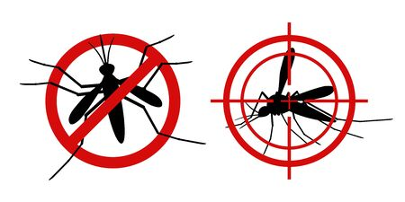 Mosquito warning signs. Informational red prohibited mosquito target, control insect, prevent epidemic, signaling stop gnat. vector black silhouette set