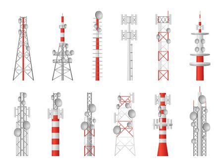 Radio towers. Telecom masts broadcast equipment, wireless station towered transmitter satellite wireless signal, communication global technology vector set
