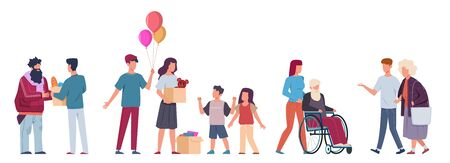 Volunteer. Volunteers help people, charity community collect donation support old and sick people, give food and clothes. flat cartoon vector characters. Donations and Charity concept Illustration