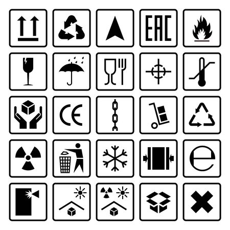 Packaging symbols. Shipping cargo signs fragile, frozen flammable, this side up, handle with care, icons use on package carton box, sticker vector set