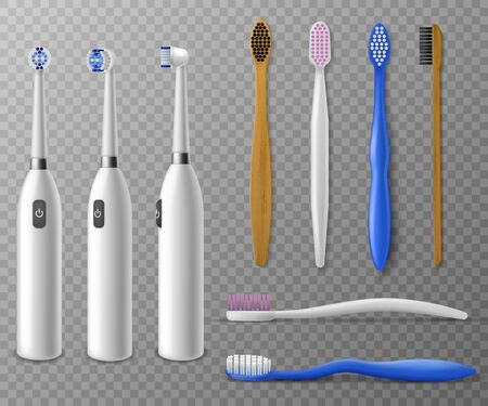 Toothbrushes mockup. Realistic plastic, electric toothbrush in different angles, promo items daily morning mouth hygiene, tooth cleaning vector set on transparent background Vettoriali