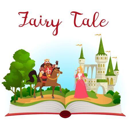 Fairy tale castle book. Open book with fantasy kingdom tower. Prince on horse and princess near palace, magic landscape. Cartoon vector kid fairytale illustration Ilustração