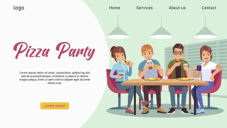 Friends cafe. Group of young people girls and guys at table eating Pizza and drinking soda, Landing page template, cartoon flat vector illustration Vectores