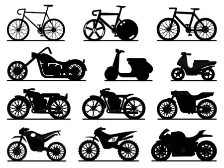 Motorbike black silhouette set. Motorcycles and scooters, bikes and choppers. Speed race and delivery retro and modern vehicles travel and sport flat vector motor transport detail pictogram collection